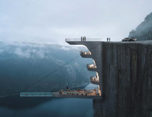 Dramatiskt designhotell i Norge med infinitypool– se bilderna här